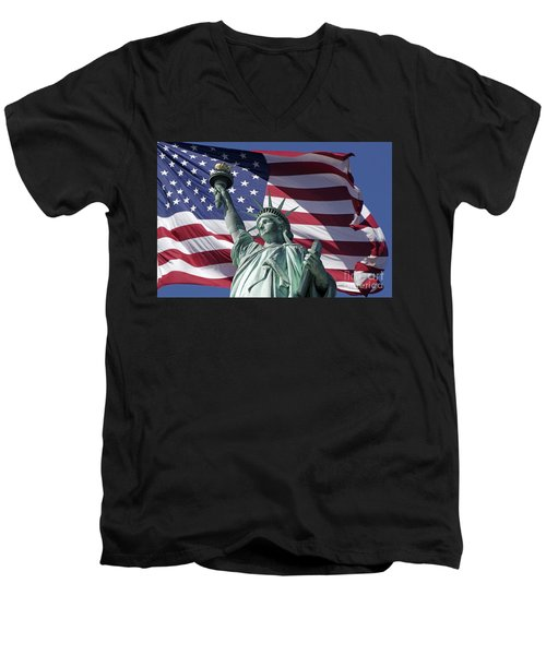 Men's V-Neck T-Shirt featuring the photograph Statue Of Liberty New York  by Juergen Held