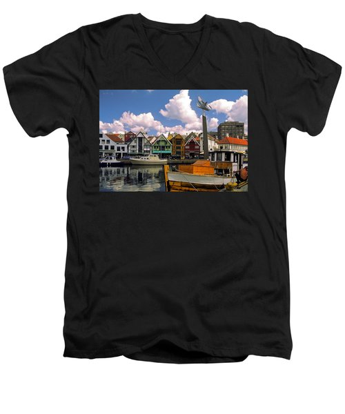 Stavanger Harbor Men's V-Neck T-Shirt by Sally Weigand