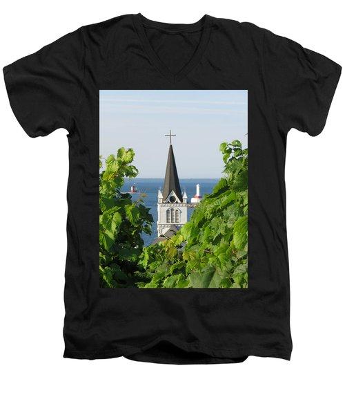 Ste. Anne's Steeple Men's V-Neck T-Shirt