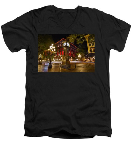 Steam Clock In Historic Gastown Vancouver Bc Men's V-Neck T-Shirt