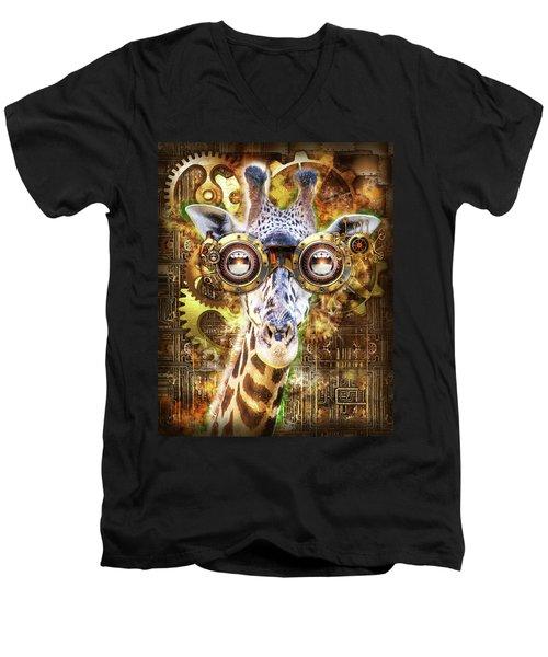 Steam Punk Giraffe Men's V-Neck T-Shirt