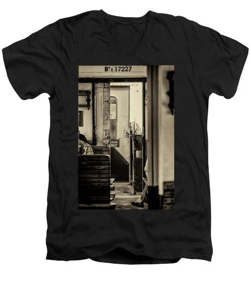 Men's V-Neck T-Shirt featuring the photograph Steam Train Series No 33 by Clare Bambers