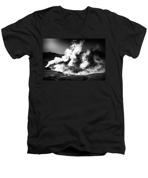 Men's V-Neck T-Shirt featuring the photograph Steaming Iceland Black And White Landscape by Matthias Hauser