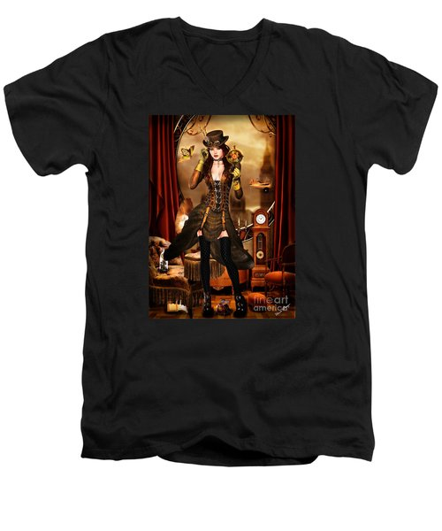 Steampunk Girl Men's V-Neck T-Shirt