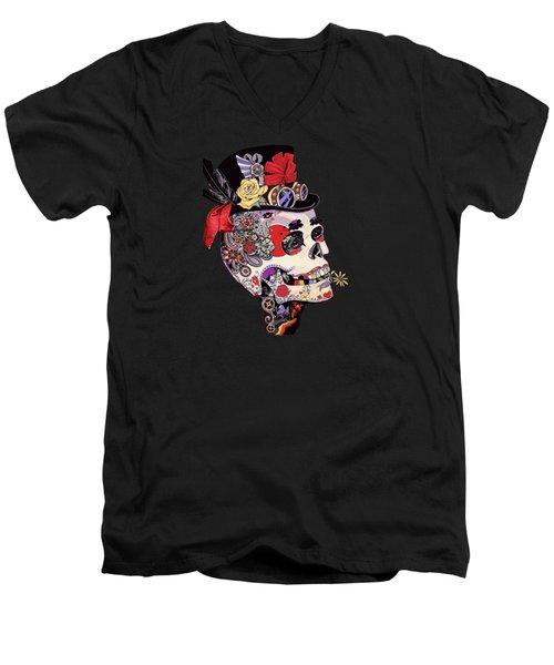 Steampunk Sugar Skull  Men's V-Neck T-Shirt