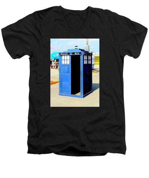 Steampunk Tardis Men's V-Neck T-Shirt by Justin Moore