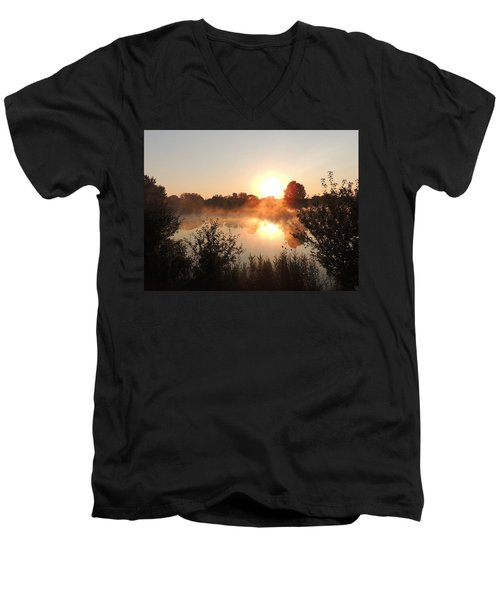Steamy Morning Men's V-Neck T-Shirt by Teresa Schomig