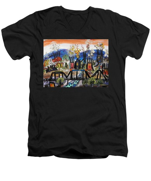 Steeltown U.s.a. Men's V-Neck T-Shirt by Mary Carol Williams