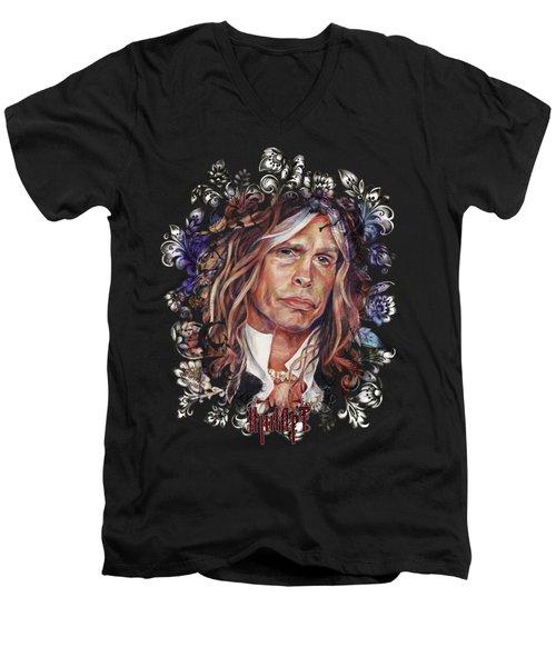 Steven Tyler Aerosmith Men's V-Neck T-Shirt by Inna Volvak