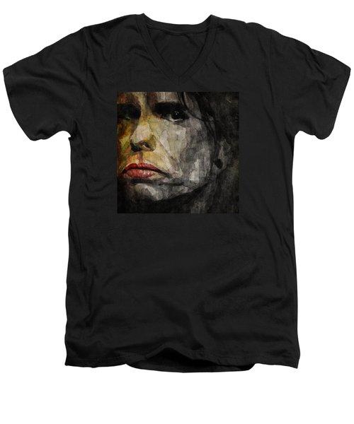 Steven Tyler  Men's V-Neck T-Shirt by Paul Lovering