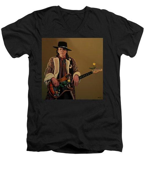 Stevie Ray Vaughan 2 Men's V-Neck T-Shirt by Paul Meijering