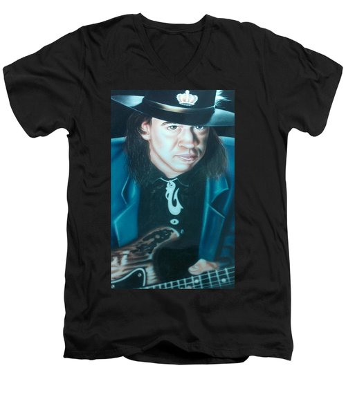 Stevie Ray Vaughn Men's V-Neck T-Shirt by Darren Robinson