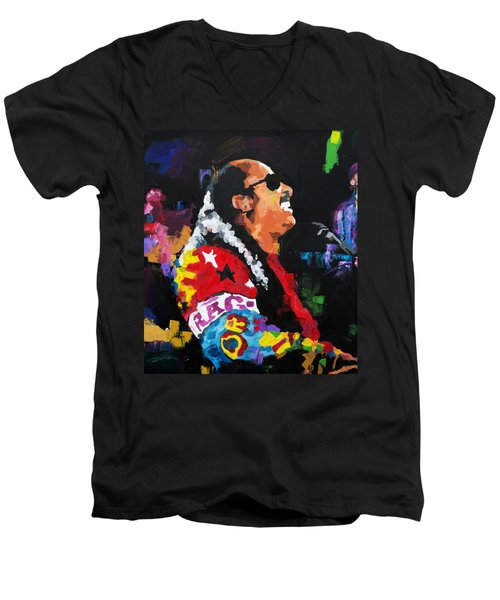 Men's V-Neck T-Shirt featuring the painting Stevie Wonder Live by Richard Day
