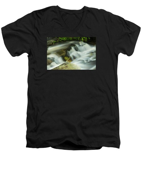 Men's V-Neck T-Shirt featuring the photograph Stickney Brook Flowing by Tom Singleton