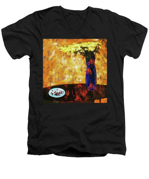 Men's V-Neck T-Shirt featuring the painting Still Life. Cherries For The Queen by Anastasija Kraineva