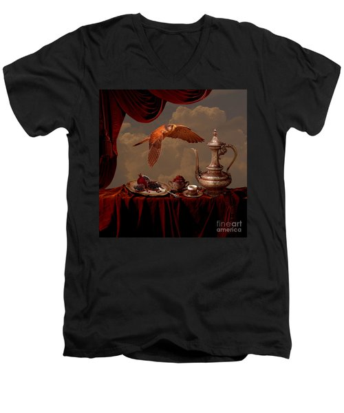 Men's V-Neck T-Shirt featuring the digital art Still Life In Arabic Style by Alexa Szlavics