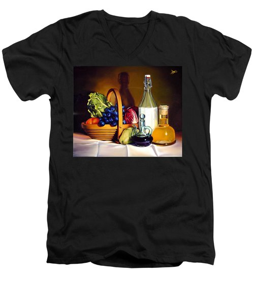 Still Life In Oil Men's V-Neck T-Shirt