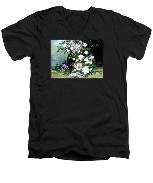 Still Life W/flowers Men's V-Neck T-Shirt