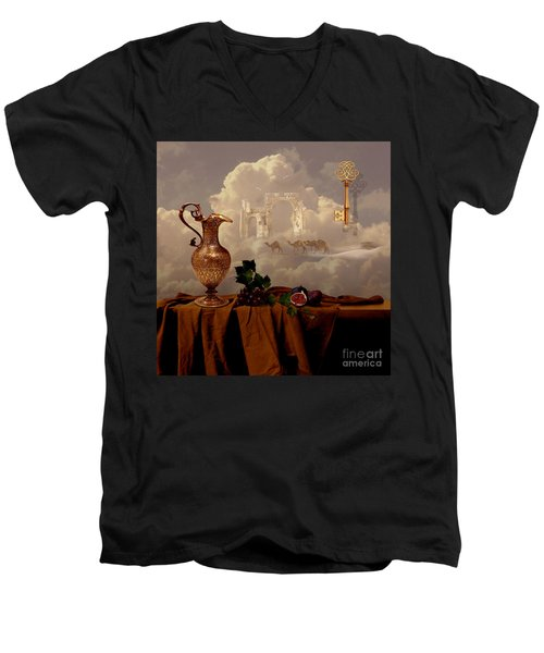 Men's V-Neck T-Shirt featuring the digital art Still Life With Gold Key by Alexa Szlavics