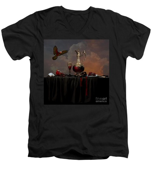 Men's V-Neck T-Shirt featuring the photograph Still Life With Pomegranate by Alexa Szlavics