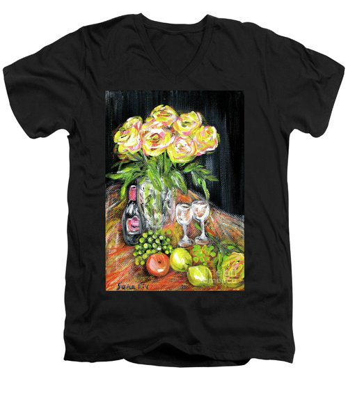 Still Life With Roses, Fruits, Wine. Painting Men's V-Neck T-Shirt