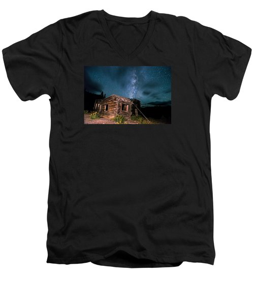 Still Night At Old Cabin Men's V-Neck T-Shirt