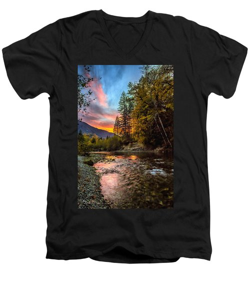 Stillaguamish Sunset Men's V-Neck T-Shirt by Charlie Duncan