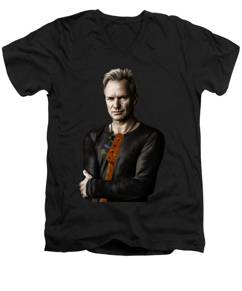 Sting Men's V-Neck T-Shirt by Andrzej Szczerski