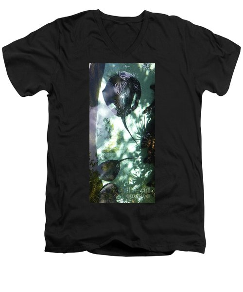 Men's V-Neck T-Shirt featuring the photograph Stingray Swim V by Francesca Mackenney