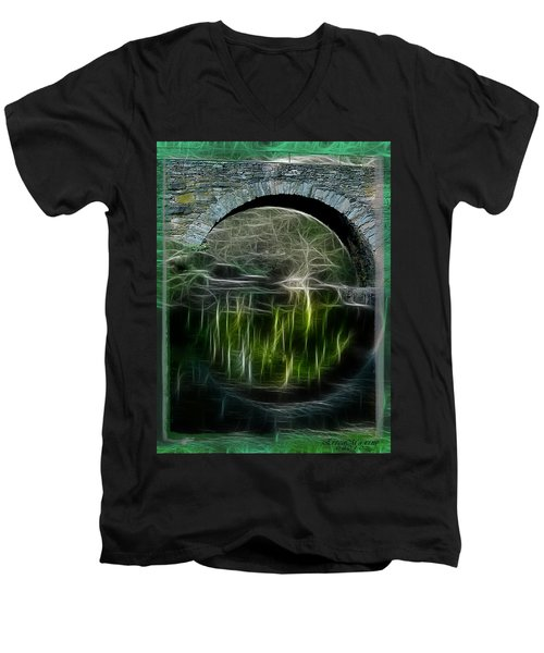 Men's V-Neck T-Shirt featuring the photograph Stone Arch Bridge - Ny by EricaMaxine  Price
