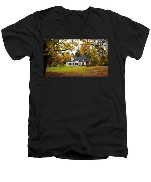 Stone Cottage In The Fall Men's V-Neck T-Shirt