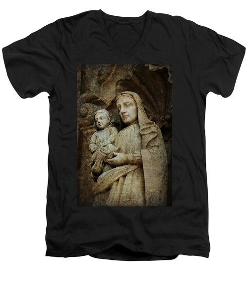 Stone Madonna And Child Men's V-Neck T-Shirt