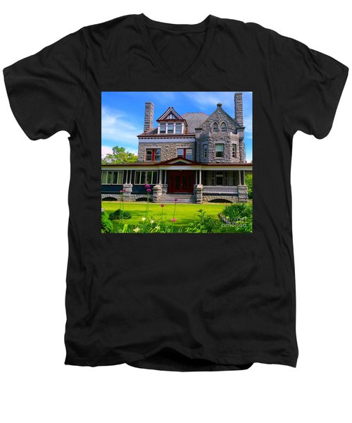 Men's V-Neck T-Shirt featuring the photograph Stone Mansion Garden by Becky Lupe