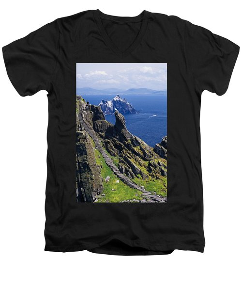 Stone Stairway, Skellig Michael Men's V-Neck T-Shirt
