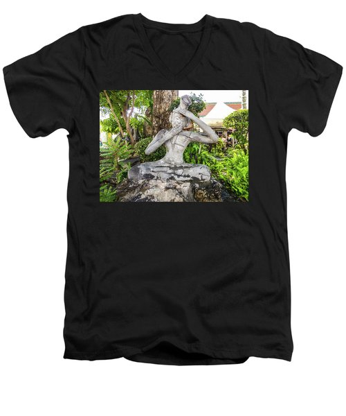 Stone Statue Depicting A Thai Yoga Pose At Wat Pho Temple Men's V-Neck T-Shirt