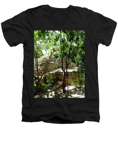 Men's V-Neck T-Shirt featuring the photograph Stone Steps In The Jungle by Francesca Mackenney