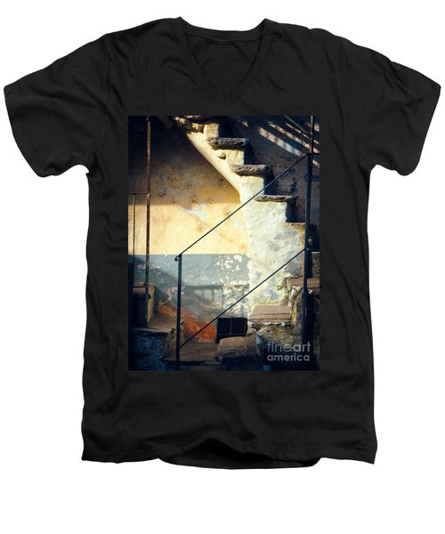 Men's V-Neck T-Shirt featuring the photograph Stone Steps Outside An Old House by Silvia Ganora
