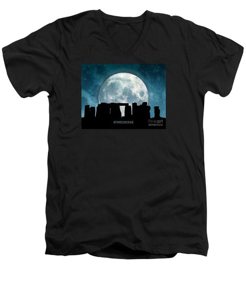 Men's V-Neck T-Shirt featuring the digital art Stonehenge by Phil Perkins