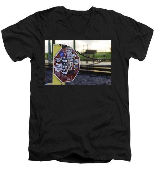 Stop Sign Ala New Orleans, Louisiana Men's V-Neck T-Shirt