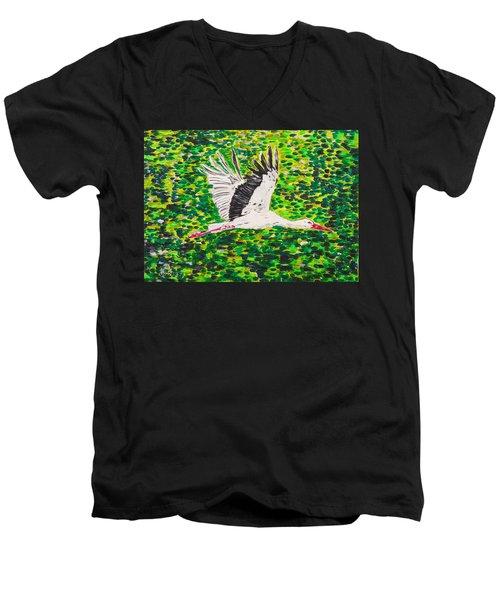 Stork In Flight Men's V-Neck T-Shirt by Valerie Ornstein