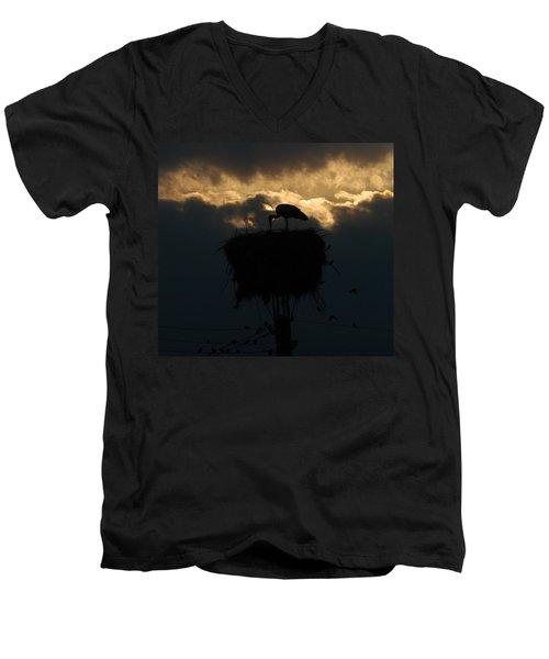 Stork With Evening Sun Light  Men's V-Neck T-Shirt