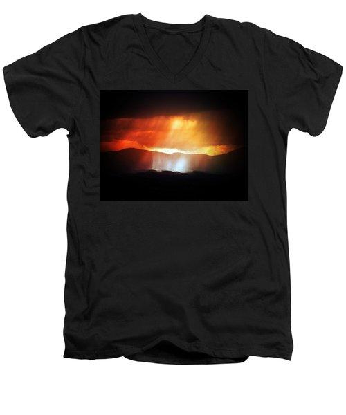 Storm Glow Night Over Santa Fe Mountains Men's V-Neck T-Shirt by Joseph Frank Baraba