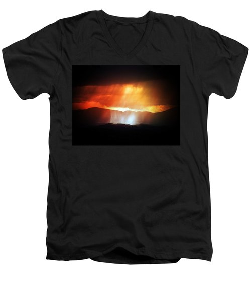 Storm Glow Night Over Santa Fe Mountains Men's V-Neck T-Shirt