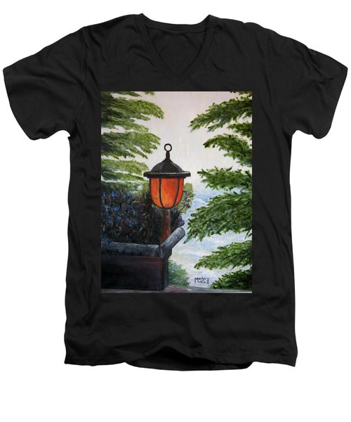 Men's V-Neck T-Shirt featuring the painting Storm On Lake Of The Woods by Marilyn  McNish
