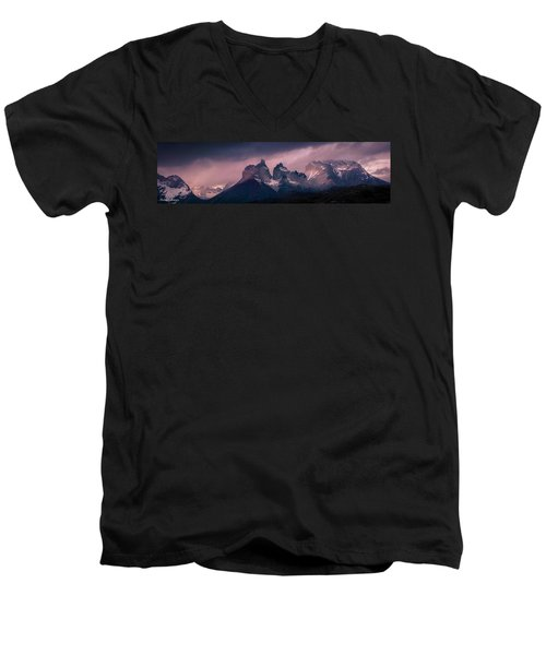 Men's V-Neck T-Shirt featuring the photograph Storm On The Peaks by Andrew Matwijec