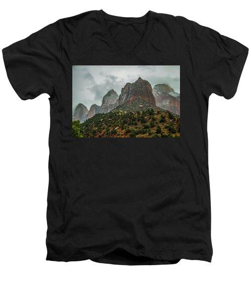Storm Over Zion Men's V-Neck T-Shirt