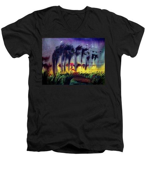 Men's V-Neck T-Shirt featuring the painting Storm by Samiran Sarkar