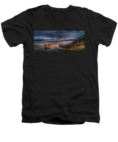 Storm Watch Over Malibu - Panarama  Men's V-Neck T-Shirt