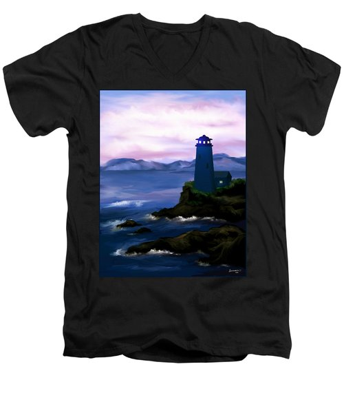 Men's V-Neck T-Shirt featuring the painting Stormy Blue Night by Susan Kinney