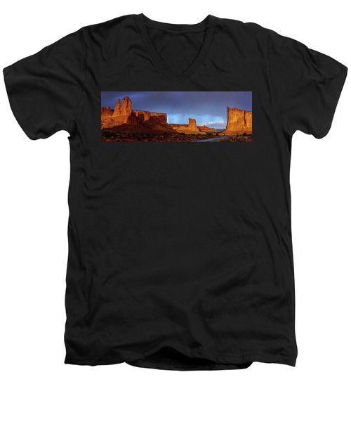 Men's V-Neck T-Shirt featuring the photograph Stormy Desert by Chad Dutson